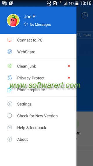 shareit for android phone side menu