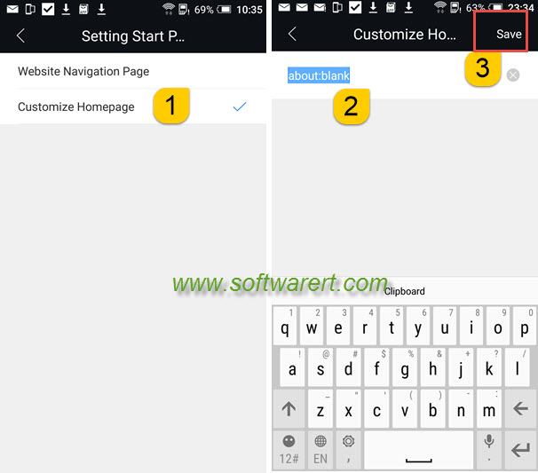 set blank homepage or start page for stock browser on htc mobile phone