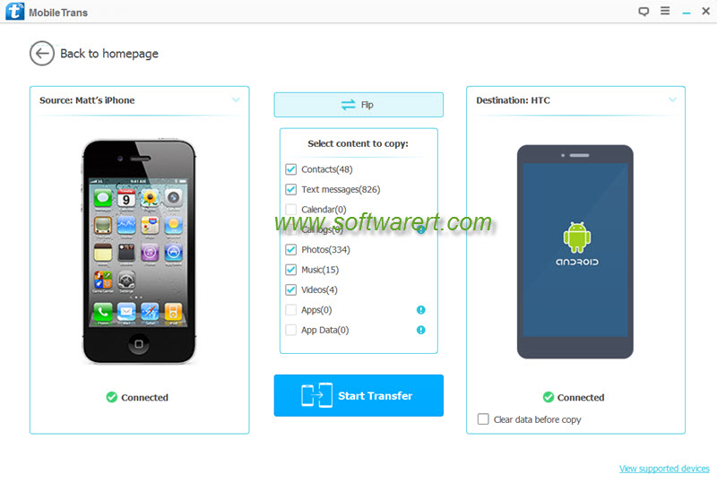 transfer data iphone to htc using mobile transfer