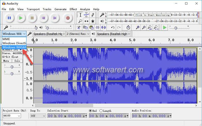 audacity windows wasapi audio host