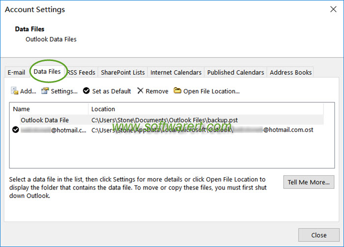 outlook account settings data files pst ost