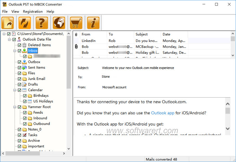 Outlook PST to MBOX Converter