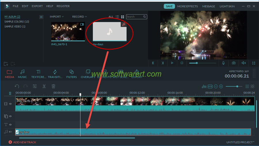 add audio music songs to video using filmora video editor on pc