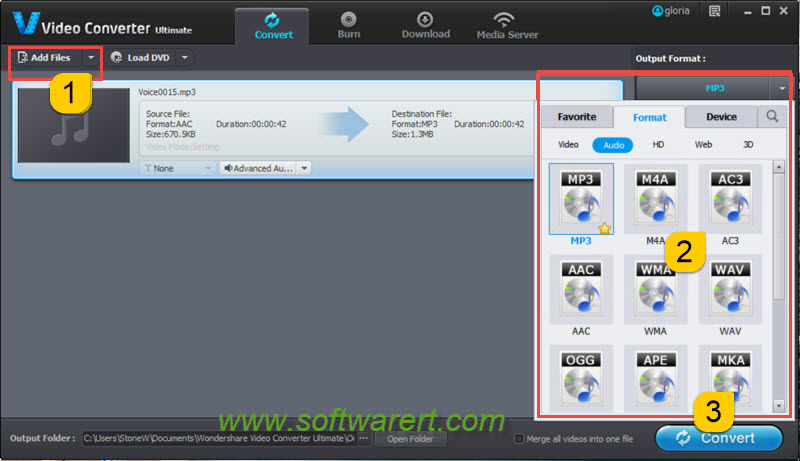 convert aac to mp3 on pc using video converter ultimate