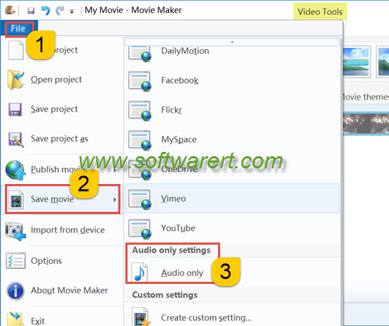 Extract Audio from Video using Windows Movie Maker