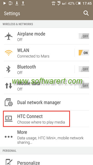 configure htc connect settings on HTC phone
