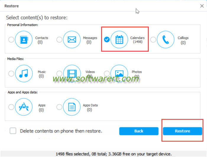 restore calendar events from pc to mobile phone using tunesgo