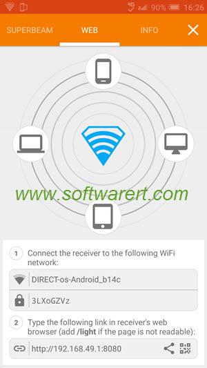 Transfer files on mobile phone using SuperBeam for web