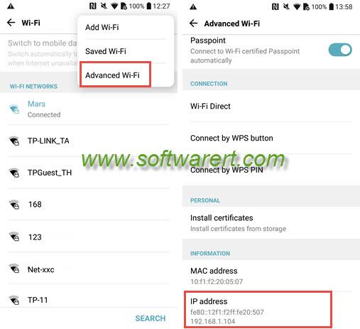 find ip address on lg mobile phone