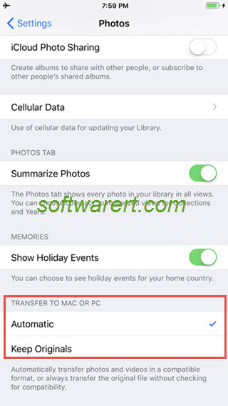 Transfer photos from iPhone to computer as HEIC, HEIF or JPG