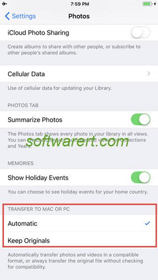 iphone 8 x transfer photos to mac pc settings