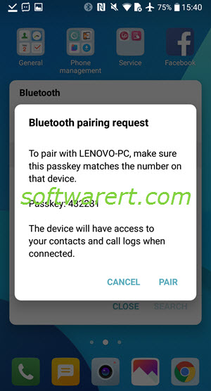 lg mobile to pc bluetooth pairing request & passkey