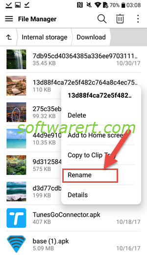 rename files folders in file manager on lg mobile phone