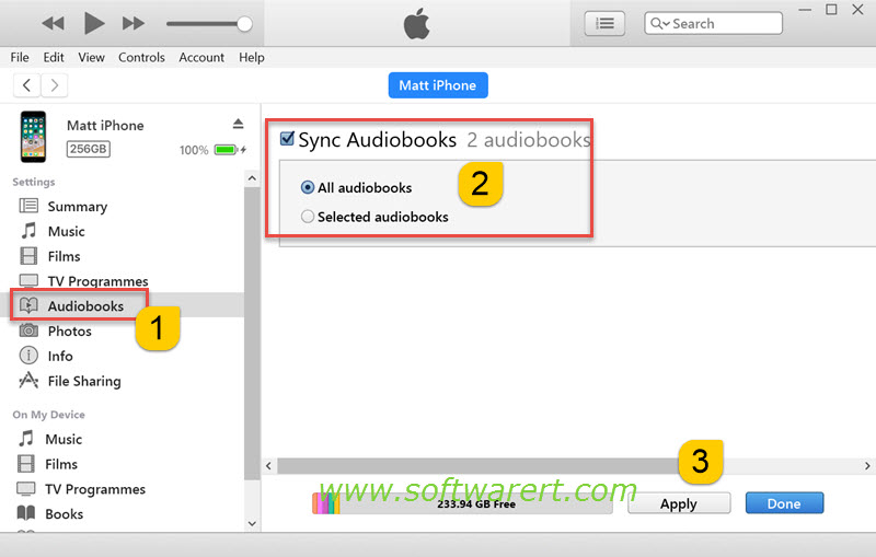 sync audio books from pc to iphone through itunes