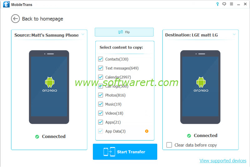batch transfer data from samsung to lg phone using mobile transfer