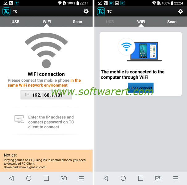 connect android phone to pc through wifi using total control