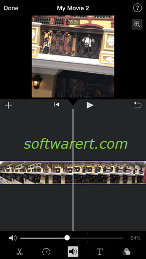Change volume of video in iMovie on iPhone