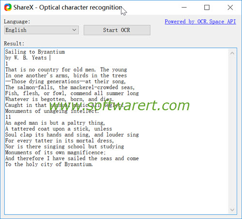 sharex optical character recognition for windows pc