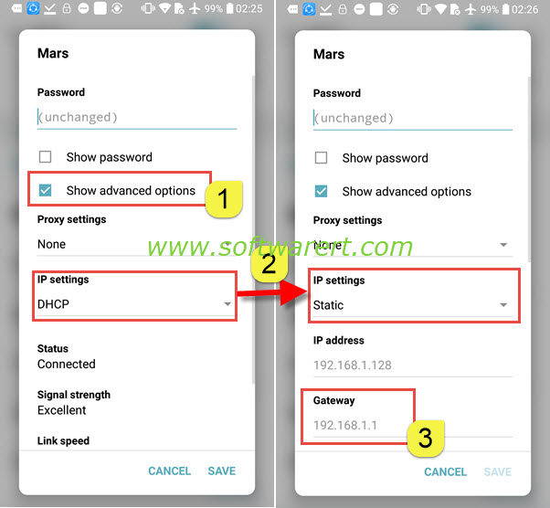 show gateway, router ip address on lg & android mobile phones