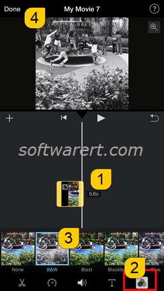 create convert black white videos using imovie on iphone