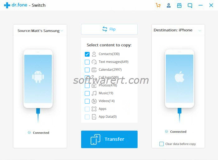 transfer contacts from samsung mobile phone to iphone using phone switch on windows pc
