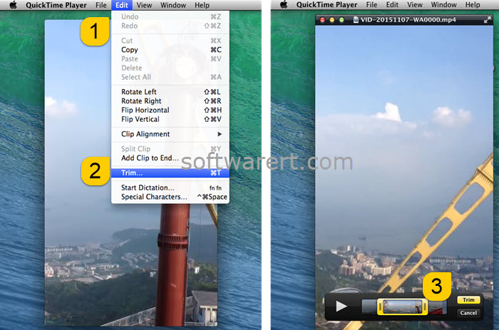 trim video movie using quicktime player for mac