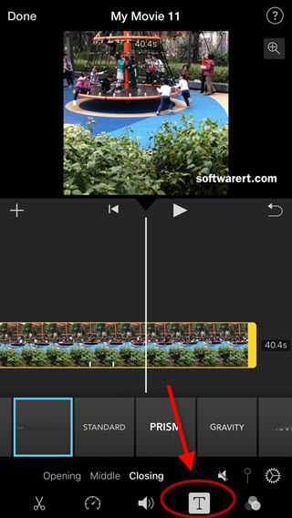 add text to video in imovie for iphone