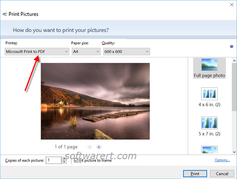 convert image to pdf in windows 10 using microsoft print to pdf