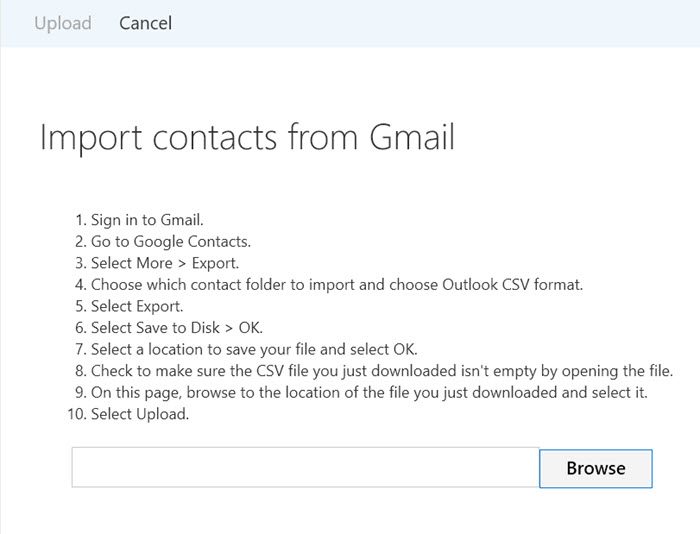 import contacts from gmail to outlook using web browser