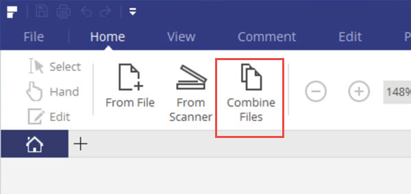 pdf element to combine two or more files on pc
