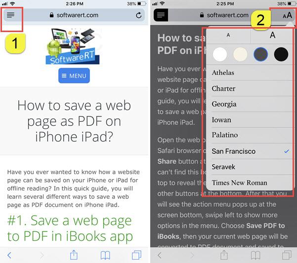 safari reader view iphone