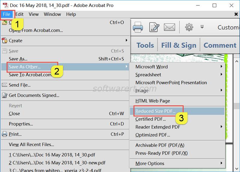 adobe acrobat pro reduce pdf file size on windows pc
