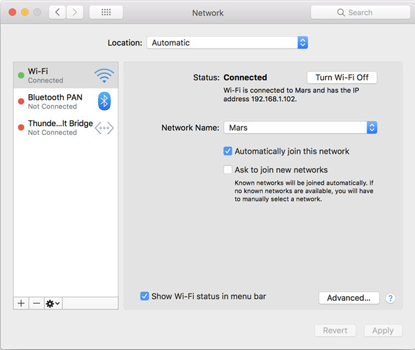 mac system preferences wifi network status