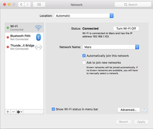 mac system preferences wifi network status