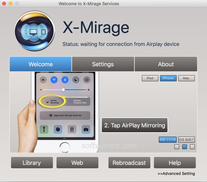 xmirage for mac home screen