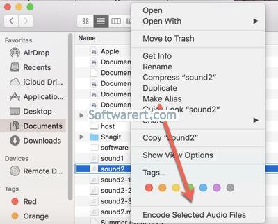 encode selected audio files in finder on mac