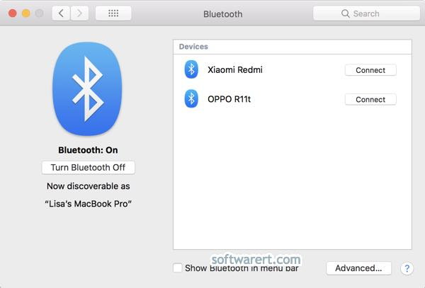 turn on bluetooth and connect device on macbook