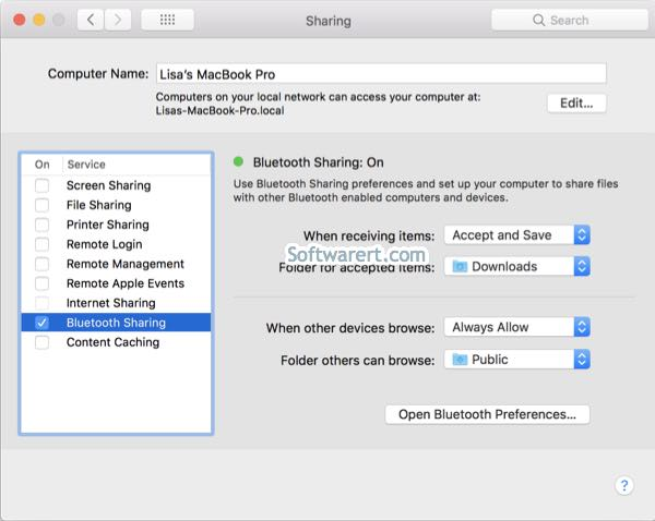turn on bluetooth sharing on macbook