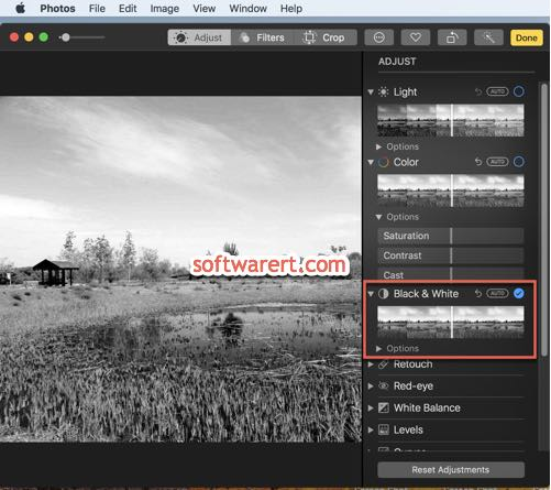 convert black white pictures in photos app on mac