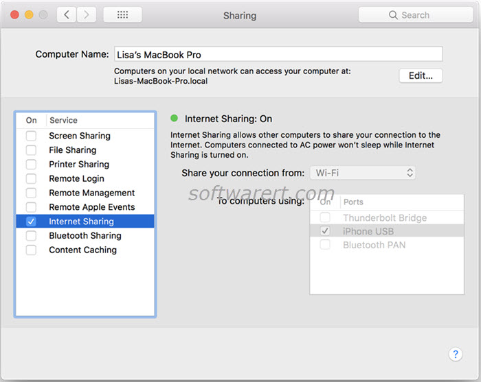 macbook share wifi connection with iphone via usb