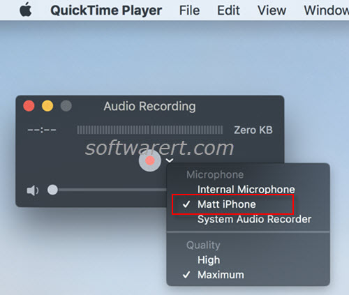 record iphone internal audio using quicktime player for mac