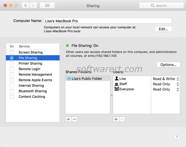 turn on file sharing on mac