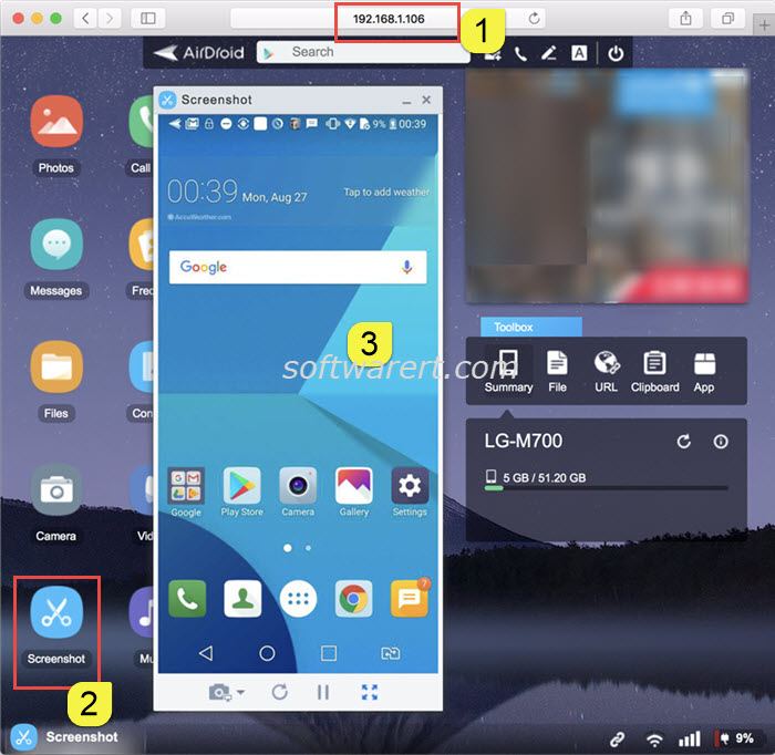 mirror android phone screen to mac using airdroid