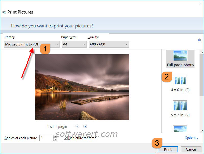 combine multiple images to pdf in windows 10 via microsoft print to pdf