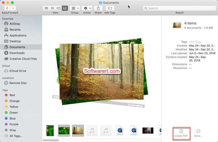 combine multiple images, pdf to a single pdf in finder gallery view on mac