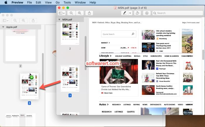 merge part of pdf files, pages in preview on mac