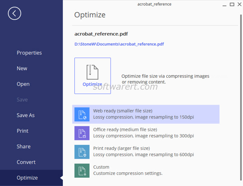optimize, compress pdf using pdfelement on windows pc