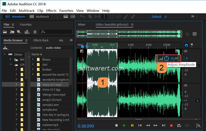 Adjust audio volume in Audition for Windows