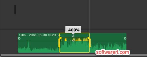 adjust volume for part of an audio clip in imovie on mac