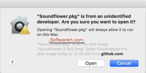 open Soundflower installer on Mac